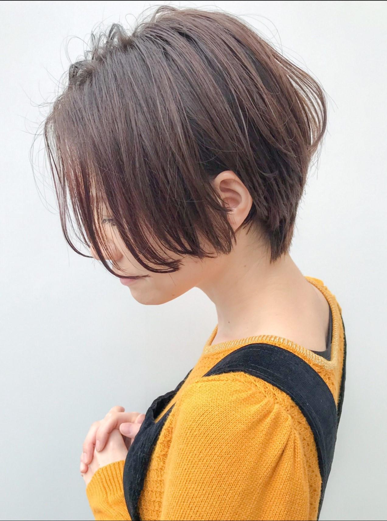 ハンサムショート アウトドア イルミナカラー コンサバ ヘアスタイルや髪型の写真・画像