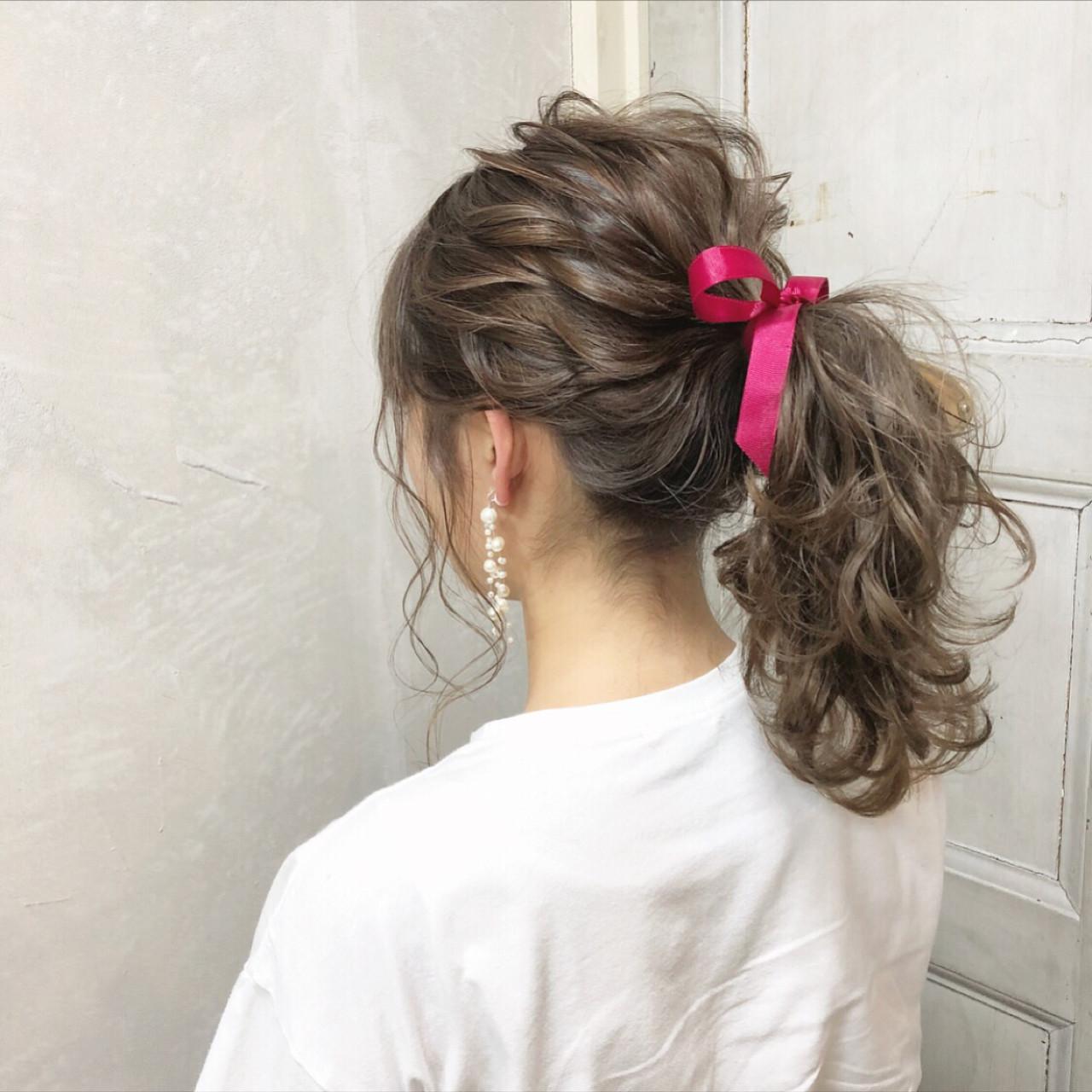 簡単ヘアアレンジ ガーリー ポニーテール 女子力 ヘアスタイルや髪型の写真・画像