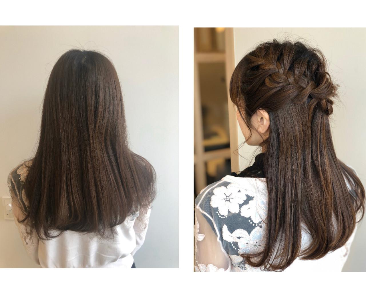 ポニーテール ガーリー セミロング ハーフアップ ヘアスタイルや髪型の写真・画像