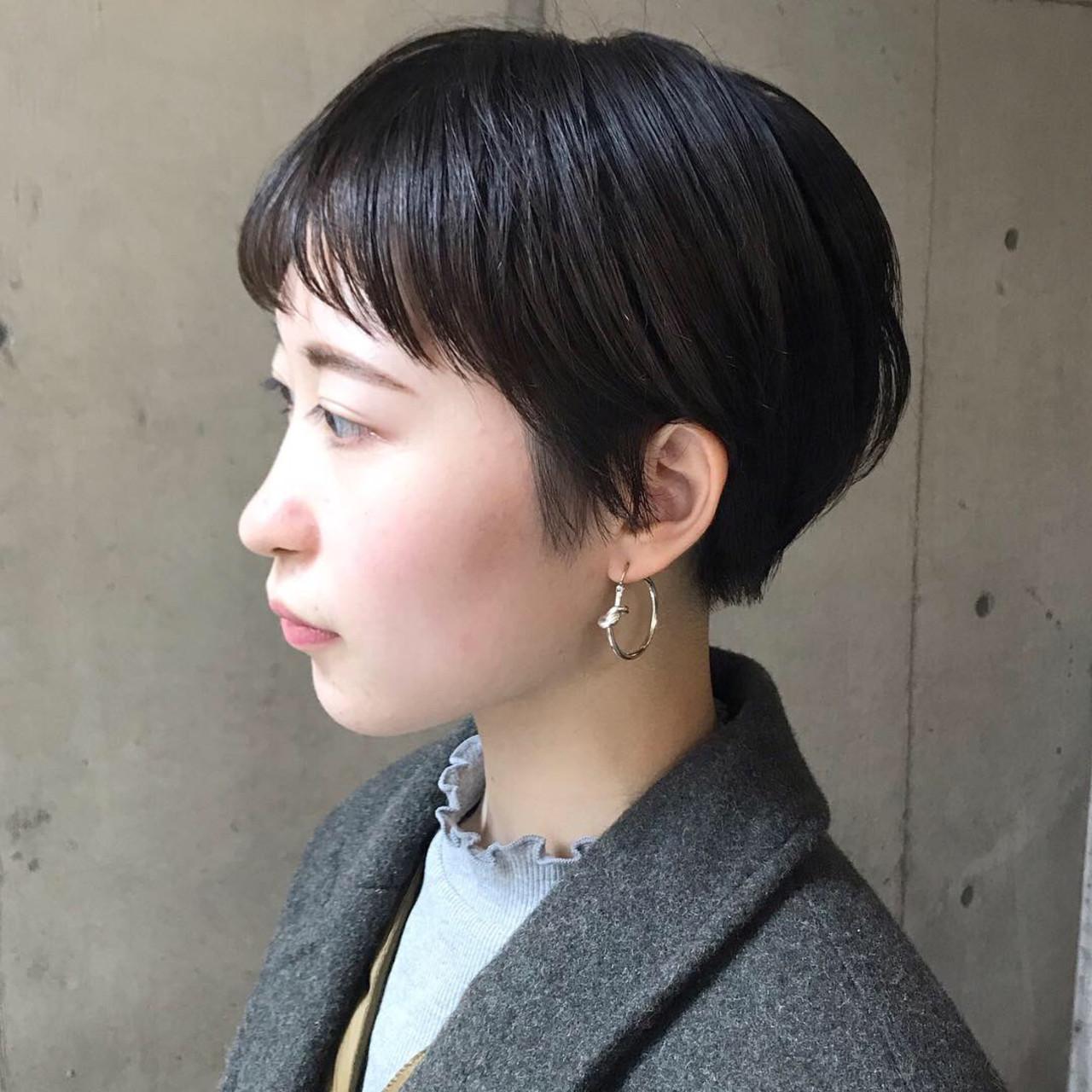 ハンサムショート アンニュイほつれヘア 大人かわいい ショートボブ ヘアスタイルや髪型の写真・画像