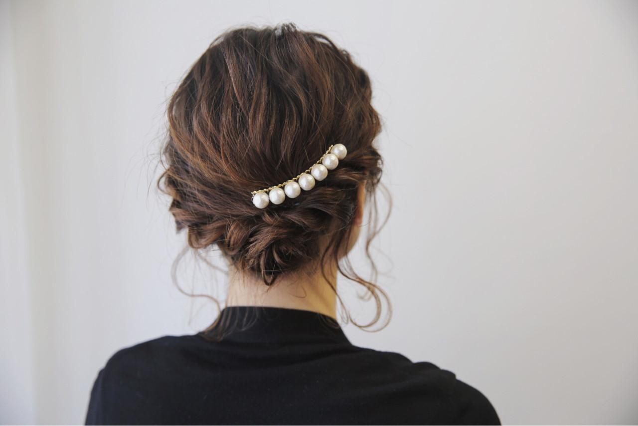 ヘアアレンジ ボブ 結婚式 ナチュラル ヘアスタイルや髪型の写真・画像