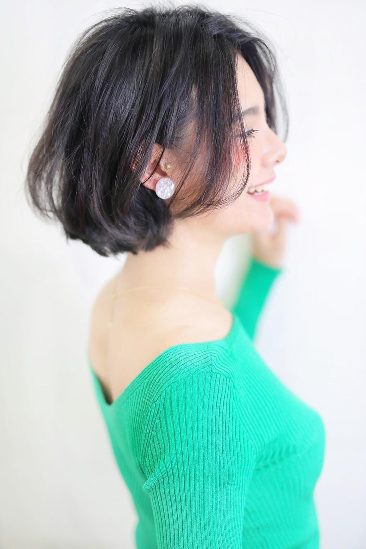 黒髪 フェミニン エフォートレス ボブ ヘアスタイルや髪型の写真・画像