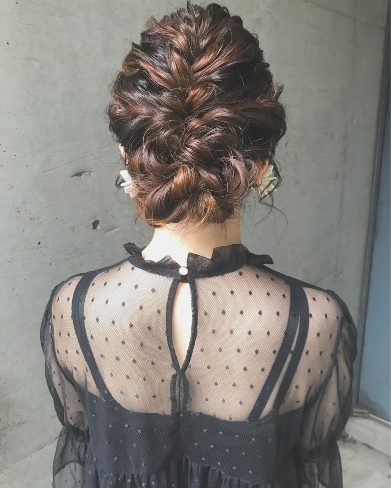 結婚式 ボブ フェミニン アップスタイル ヘアスタイルや髪型の写真・画像