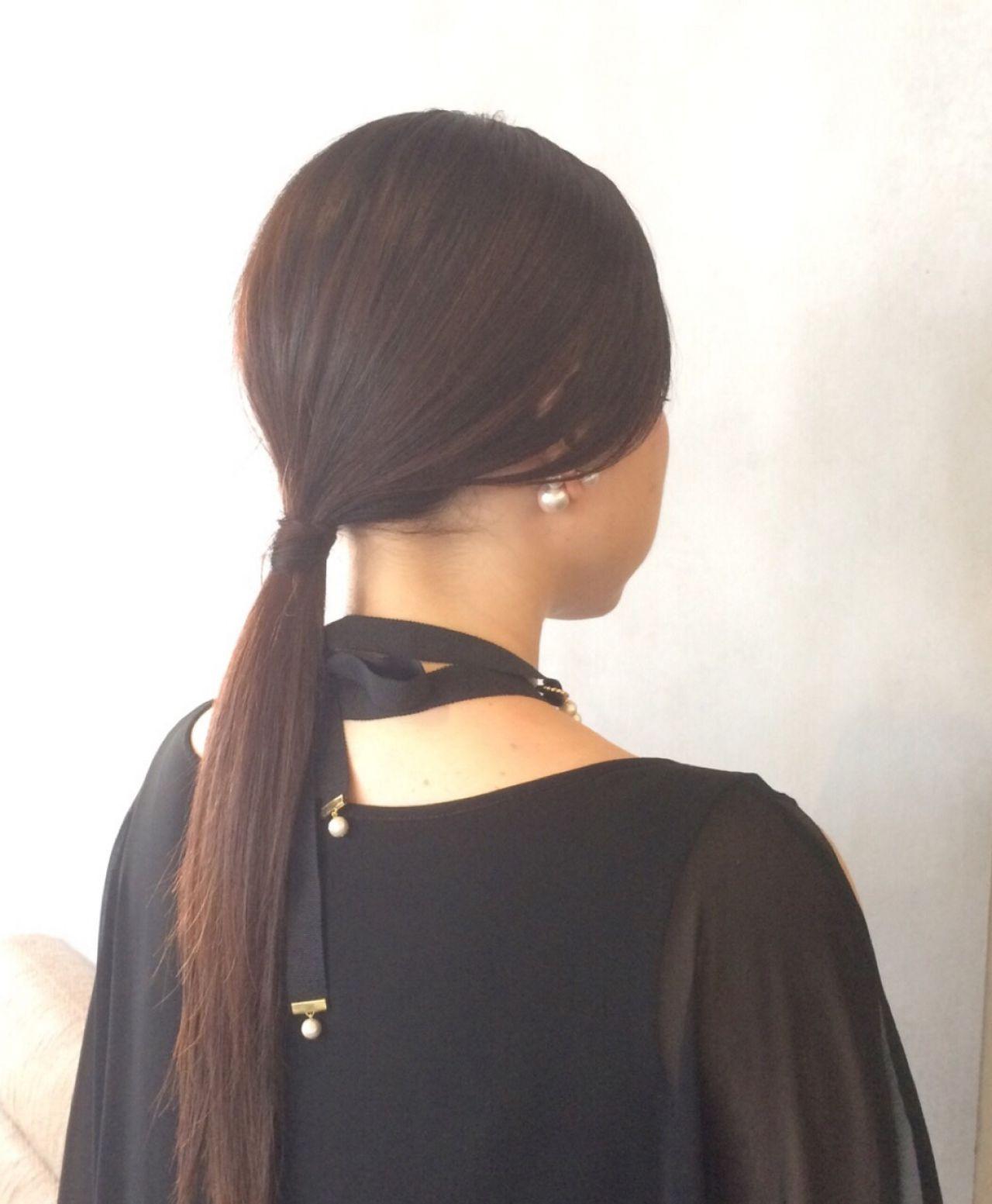 パーティ ポニーテール ロング モード ヘアスタイルや髪型の写真・画像