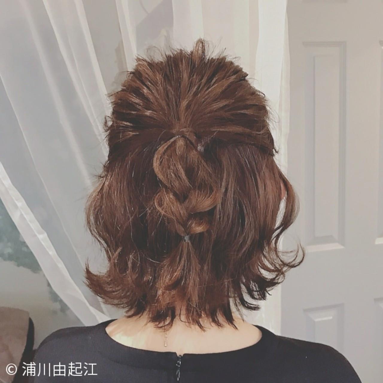 ボブ デート ヘアアレンジ フェミニン ヘアスタイルや髪型の写真・画像