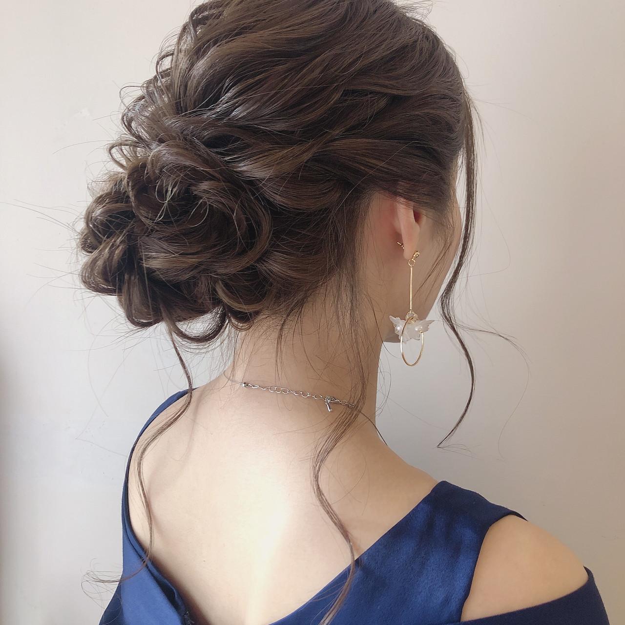 ヘアセット セミロング エレガント 簡単ヘアアレンジ ヘアスタイルや髪型の写真・画像