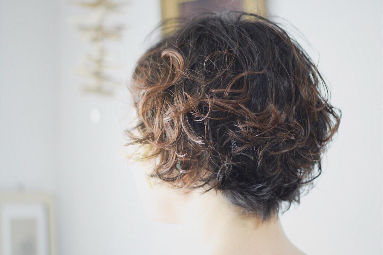 パーマ ボブ ボブ ショートマッシュ ヘアスタイルや髪型の写真・画像