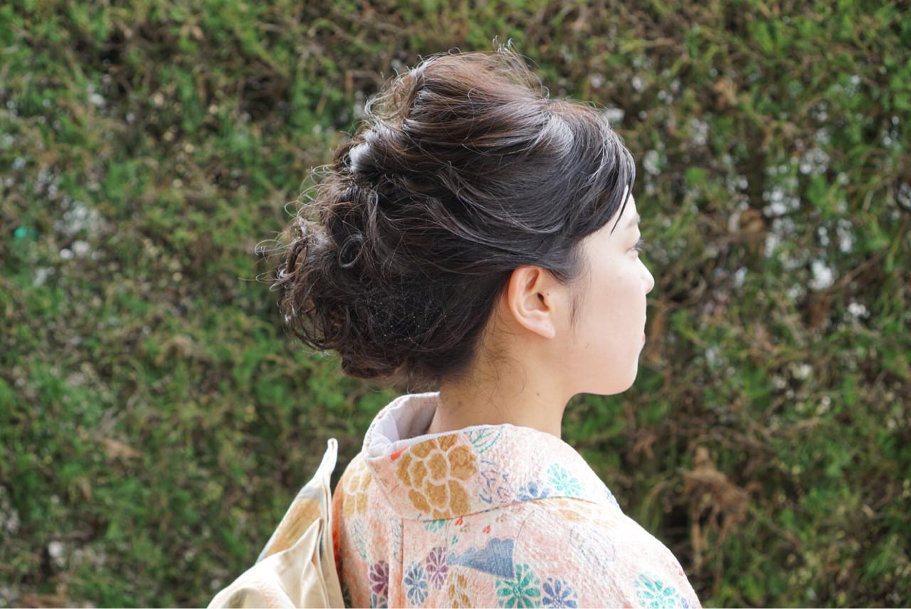 ナチュラル 和装 着物 ショート ヘアスタイルや髪型の写真・画像
