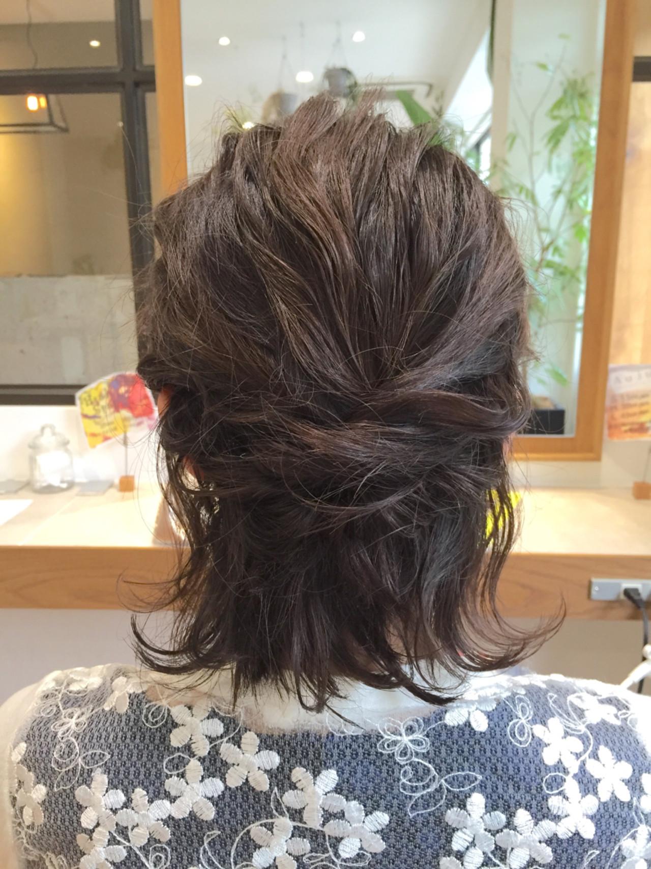 ハーフアップ 切りっぱなし 簡単ヘアアレンジ ウェットヘア ヘアスタイルや髪型の写真・画像