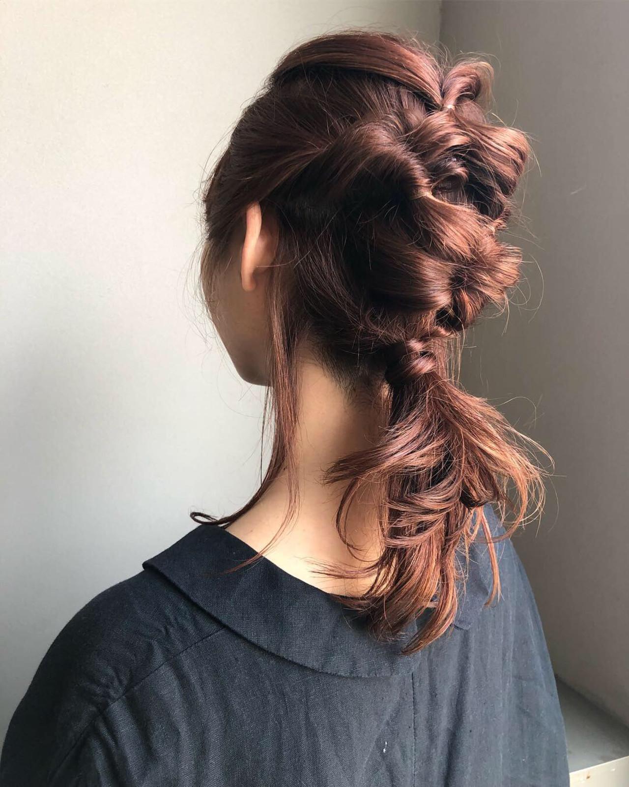 フェミニン 簡単ヘアアレンジ 結婚式 ヘアカラー ヘアスタイルや髪型の写真・画像