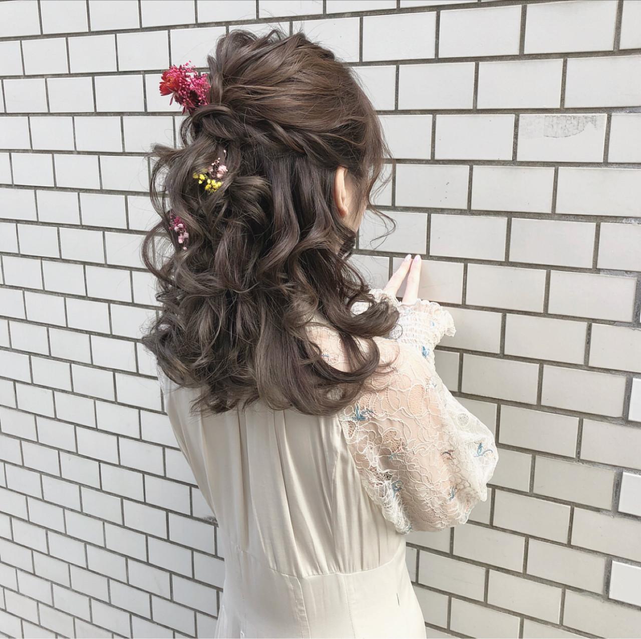 ヘアアレンジ ガーリー ハーフアップ デート ヘアスタイルや髪型の写真・画像