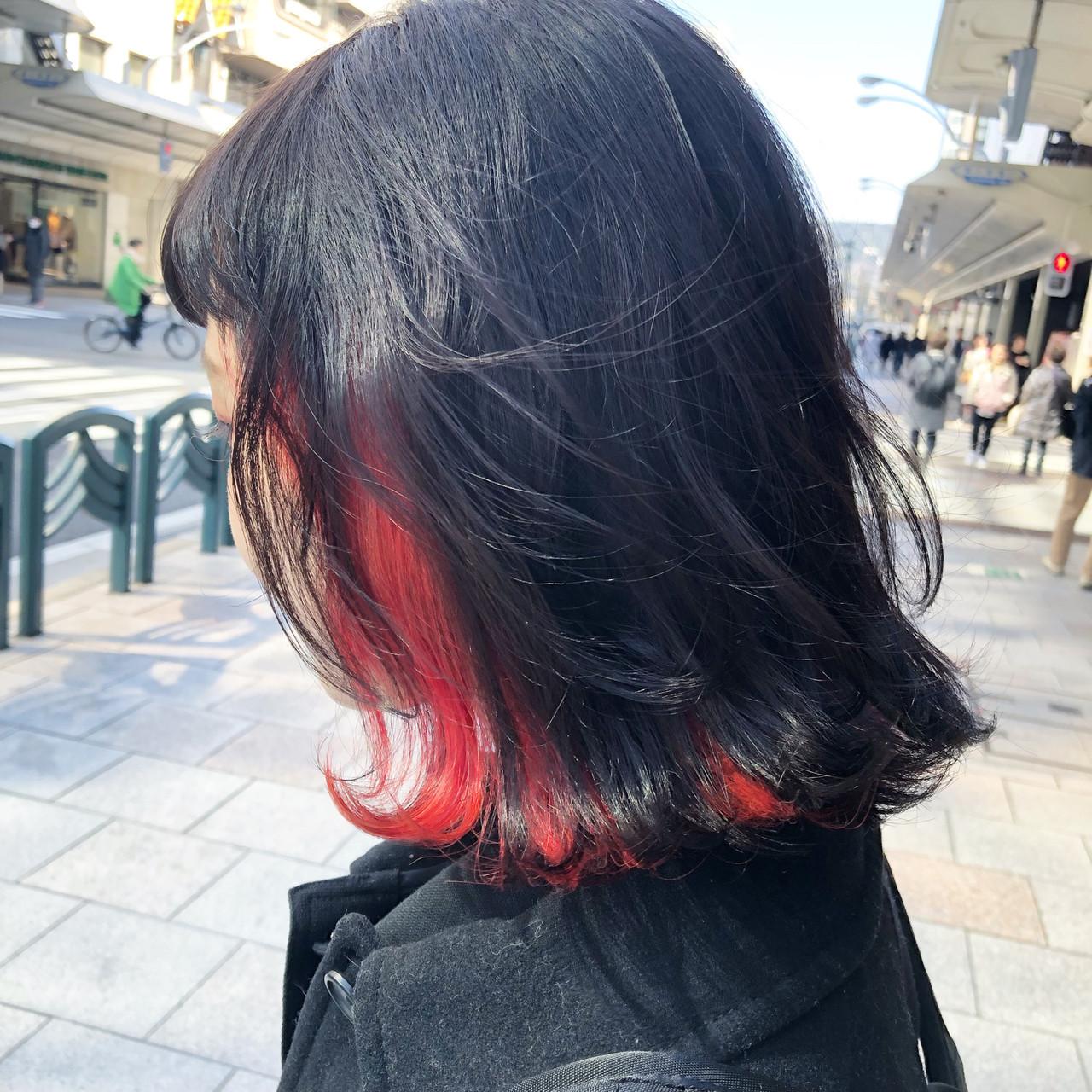 インナーカラー ブリーチカラー ミディアム ブリーチオンカラー ヘアスタイルや髪型の写真・画像