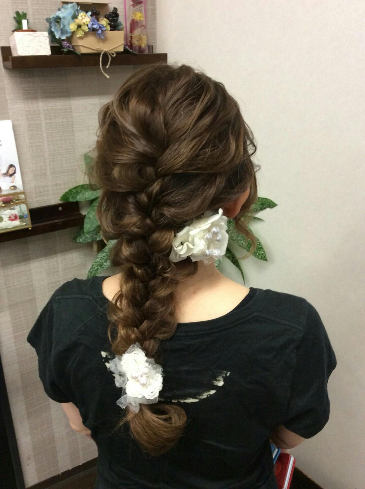 ヘアアレンジ ナチュラル 編み込み 和装 ヘアスタイルや髪型の写真・画像