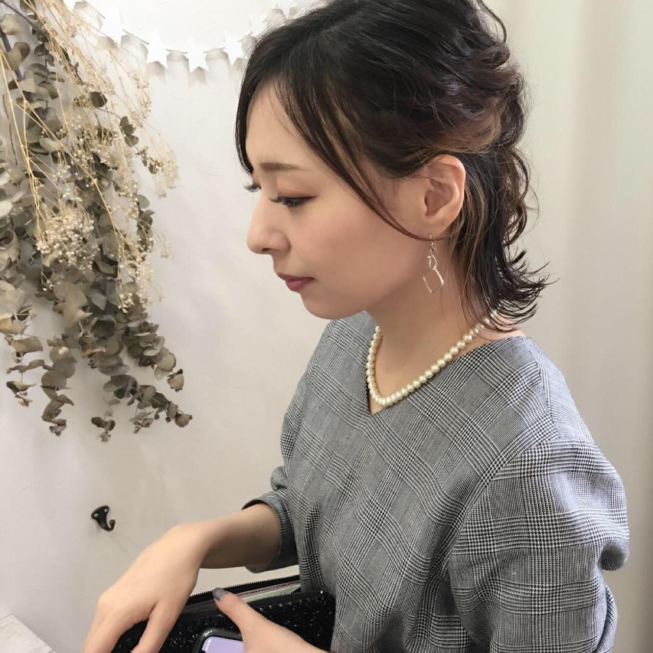 インナーカラー 結婚式 デート ヘアアレンジ ヘアスタイルや髪型の写真・画像