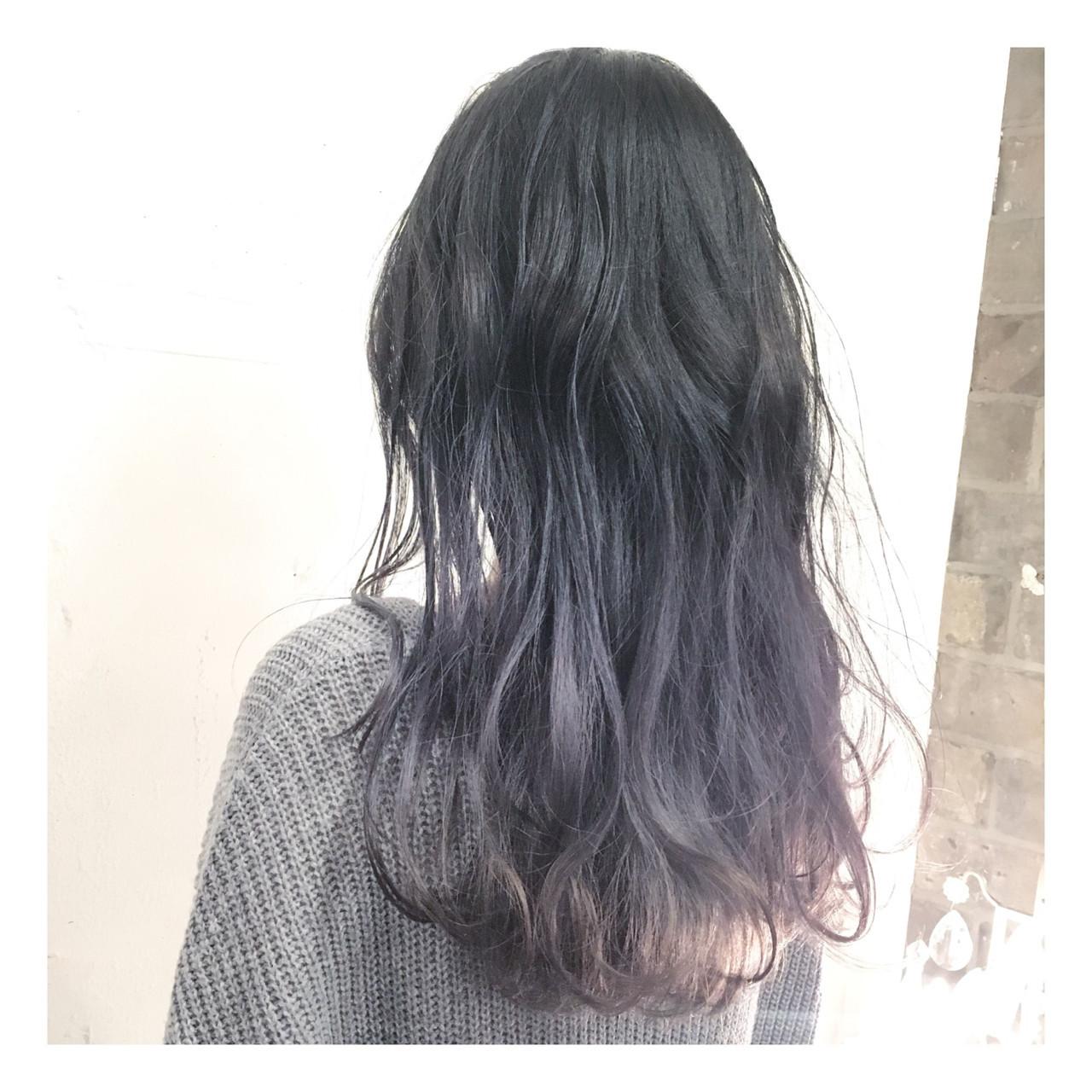 ロング 黒髪 アッシュ モード ヘアスタイルや髪型の写真・画像
