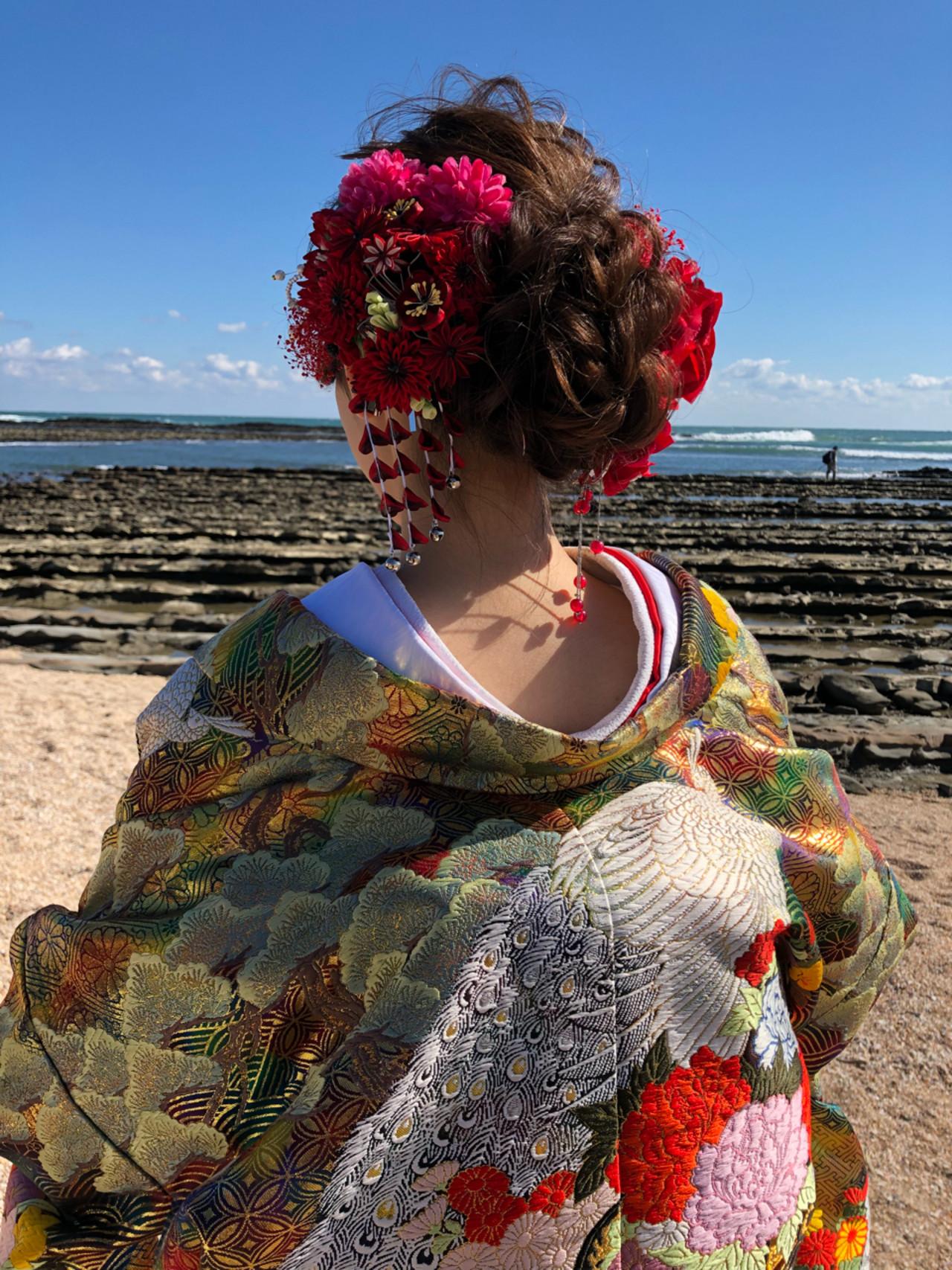 和装 フェミニン セミロング アップスタイル ヘアスタイルや髪型の写真・画像