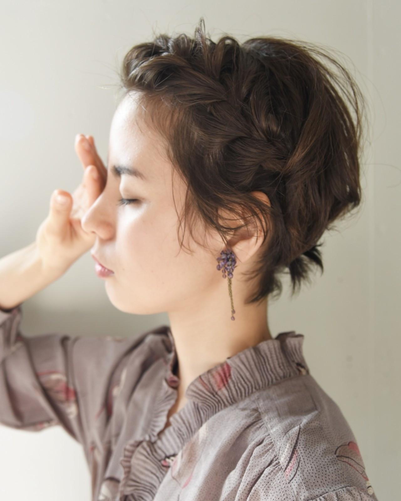 簡単ヘアアレンジ ベリーショート パーマ ヘアアレンジ ヘアスタイルや髪型の写真・画像
