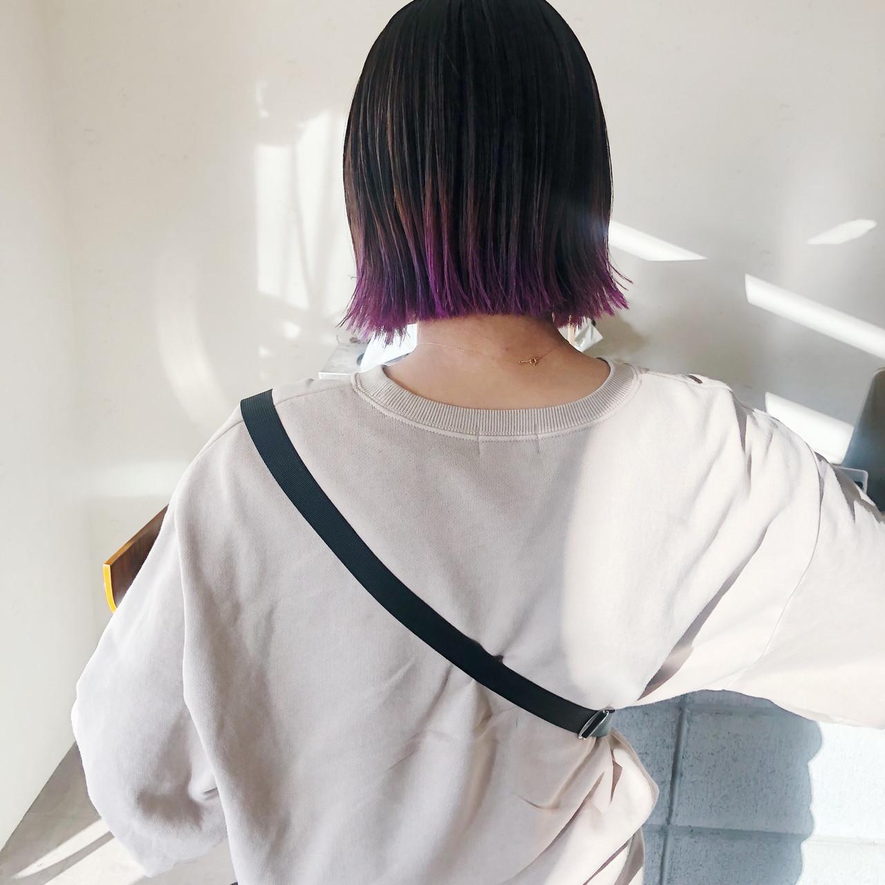 切りっぱなしボブにデザインカラーをプラス♡ 原木翔太