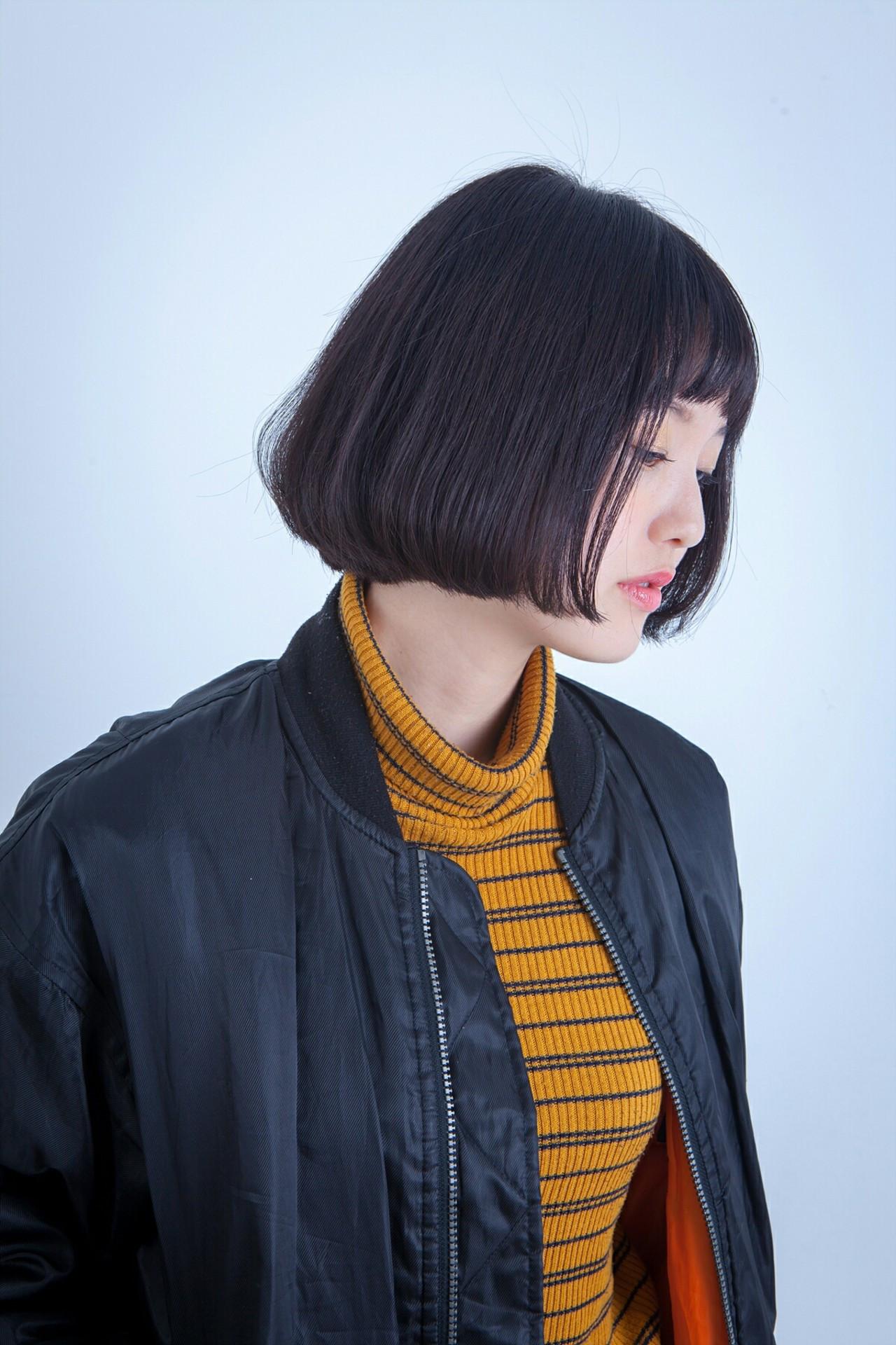 黒髪の重たさを感じさせないワンカールミニボブ 韓国のゴヨンジュ