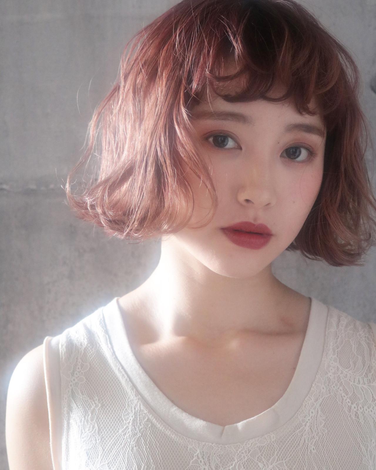 切りっぱなしボブ ラベンダーピンク ピンクベージュ ナチュラル ヘアスタイルや髪型の写真・画像