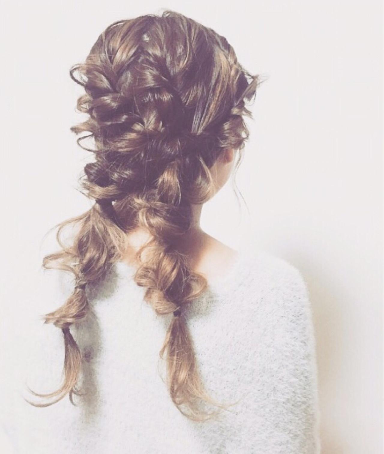 ツインテール ゆるふわ ロング 編み込み ヘアスタイルや髪型の写真・画像