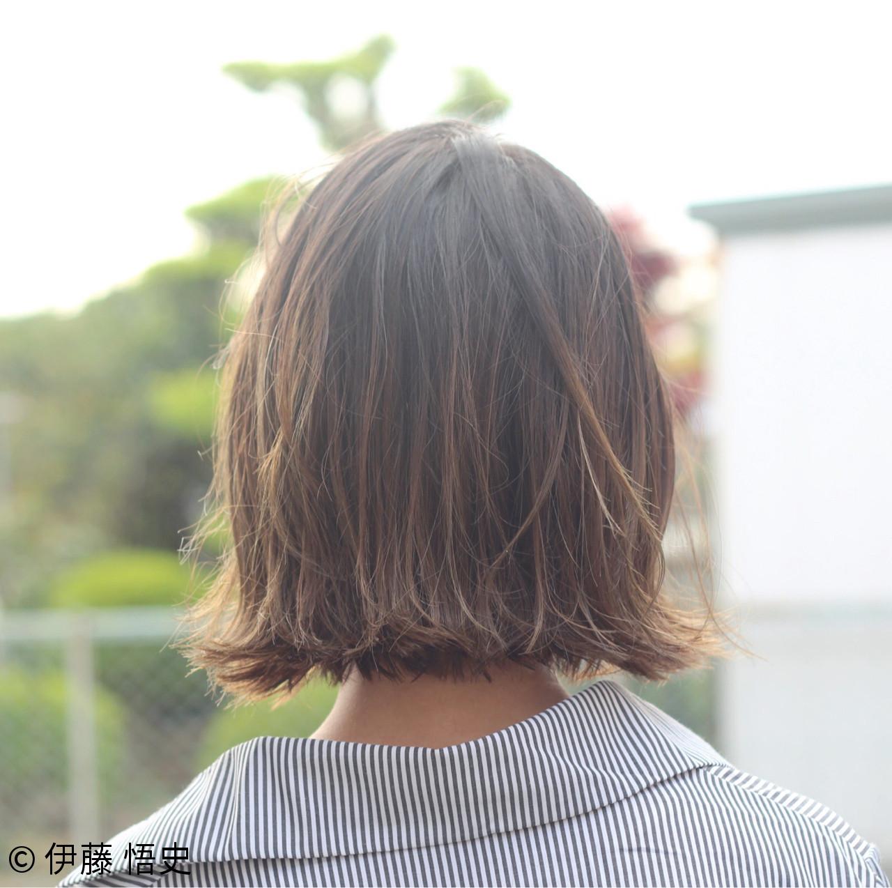 外ハネ ナチュラル アッシュベージュ ボブ ヘアスタイルや髪型の写真・画像