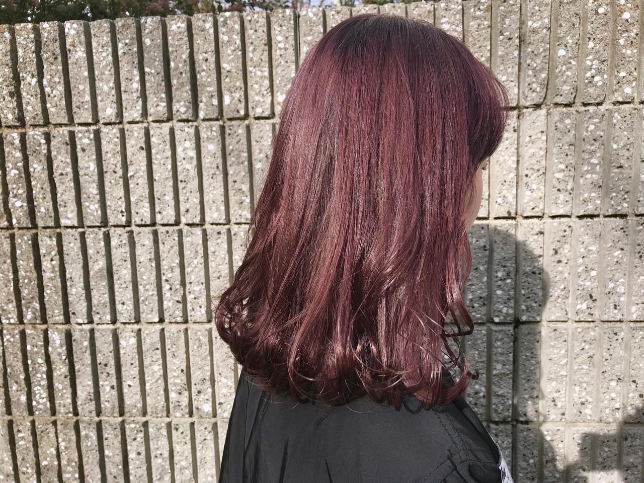 セミロング ピンクアッシュ ブリーチなし 透明感カラー ヘアスタイルや髪型の写真・画像