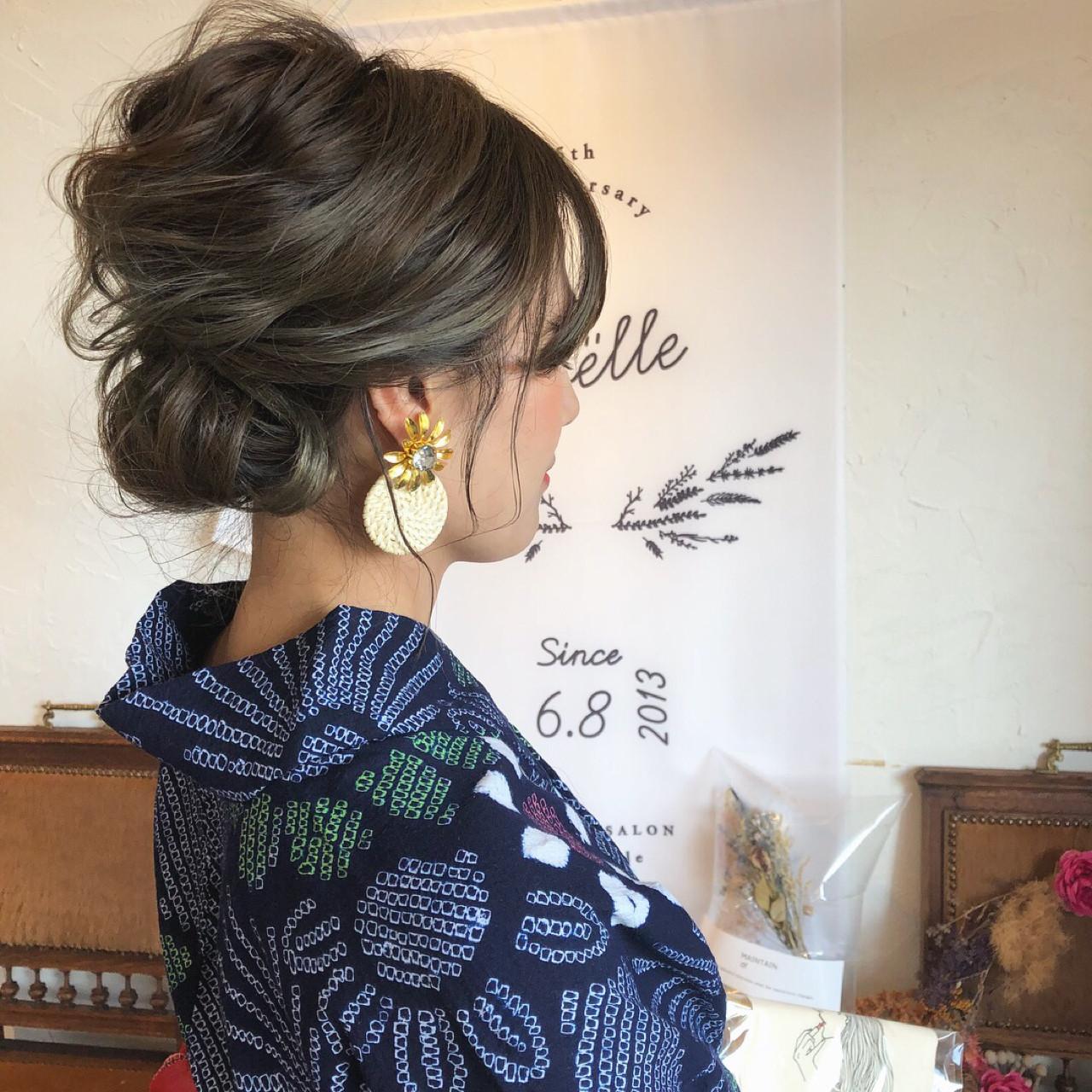 ミディアムボブならお団子スタイルも 川内道子 instagram→michiko_k