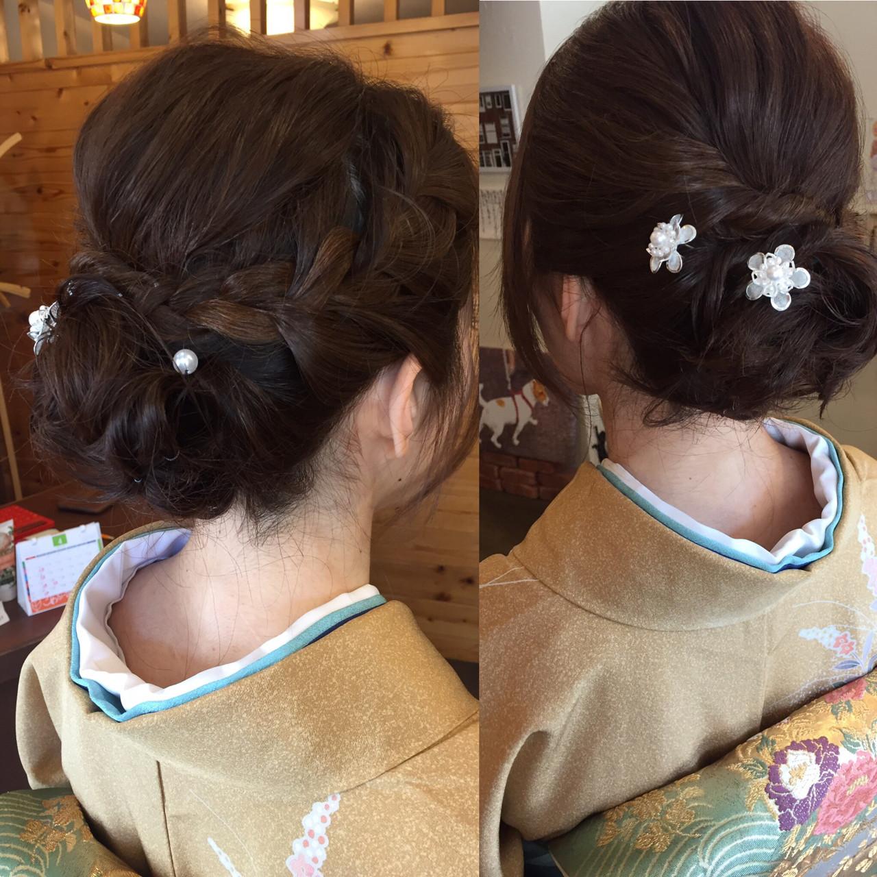 今時の着物ヘアはゆるまとめ髪 manami iwamoto \こあふーるのの