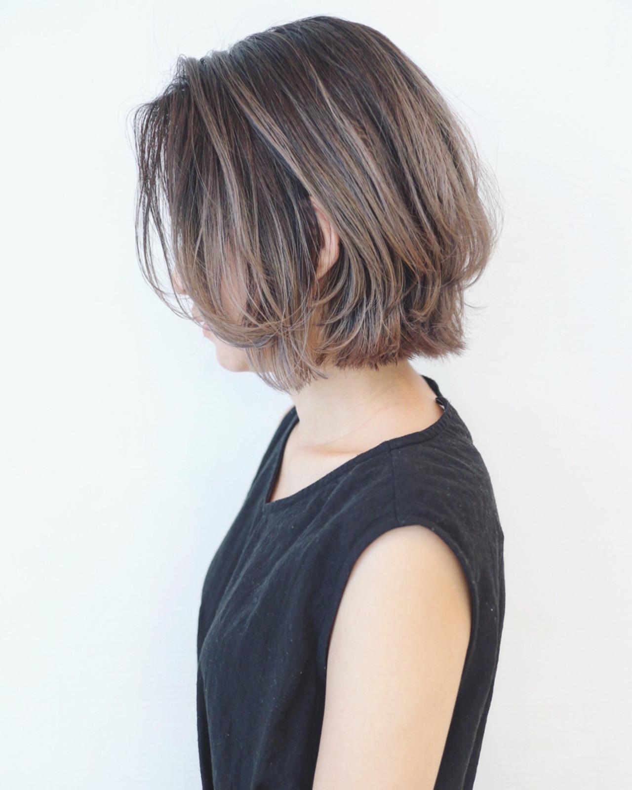 ストリート バレイヤージュ ボブ グラデーションカラー ヘアスタイルや髪型の写真・画像