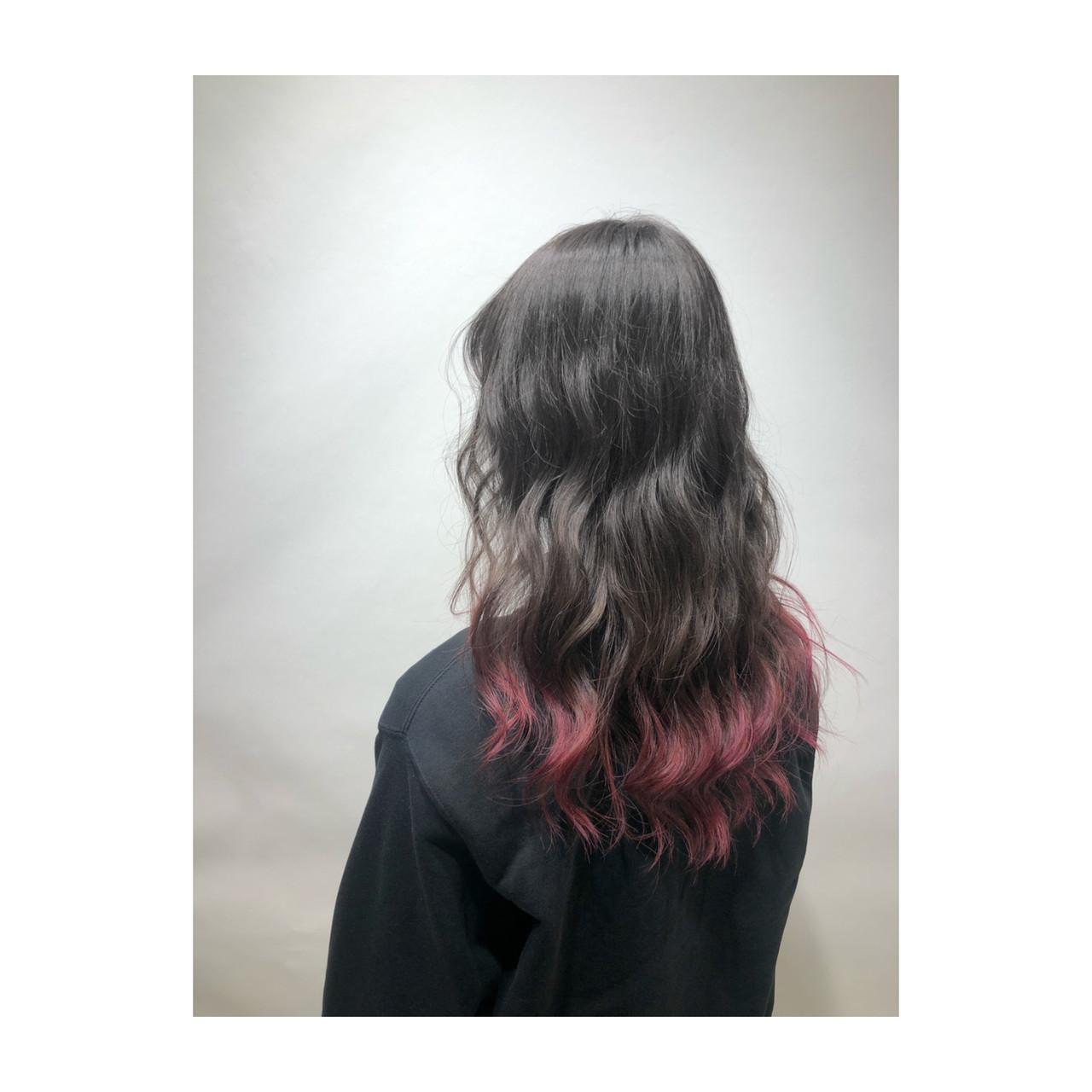 セミロング ラベンダーピンク ピンクバイオレット フェミニン ヘアスタイルや髪型の写真・画像