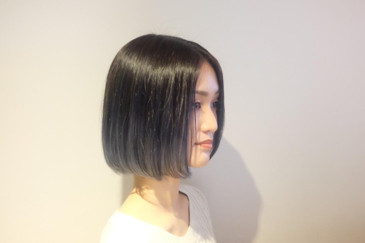 ネイビーアッシュ グラデーションカラー ボブ アッシュグラデーション ヘアスタイルや髪型の写真・画像