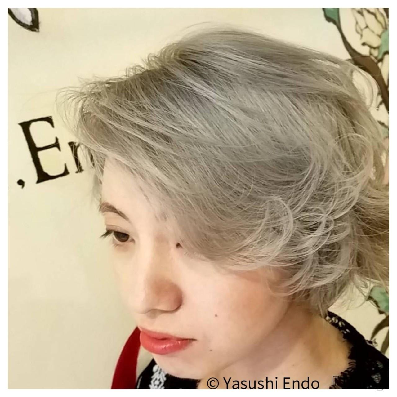 外国人風になるボブのハイトーングレージュ Yasushi Endo 『Tiam』Tiam Hair 弘明寺