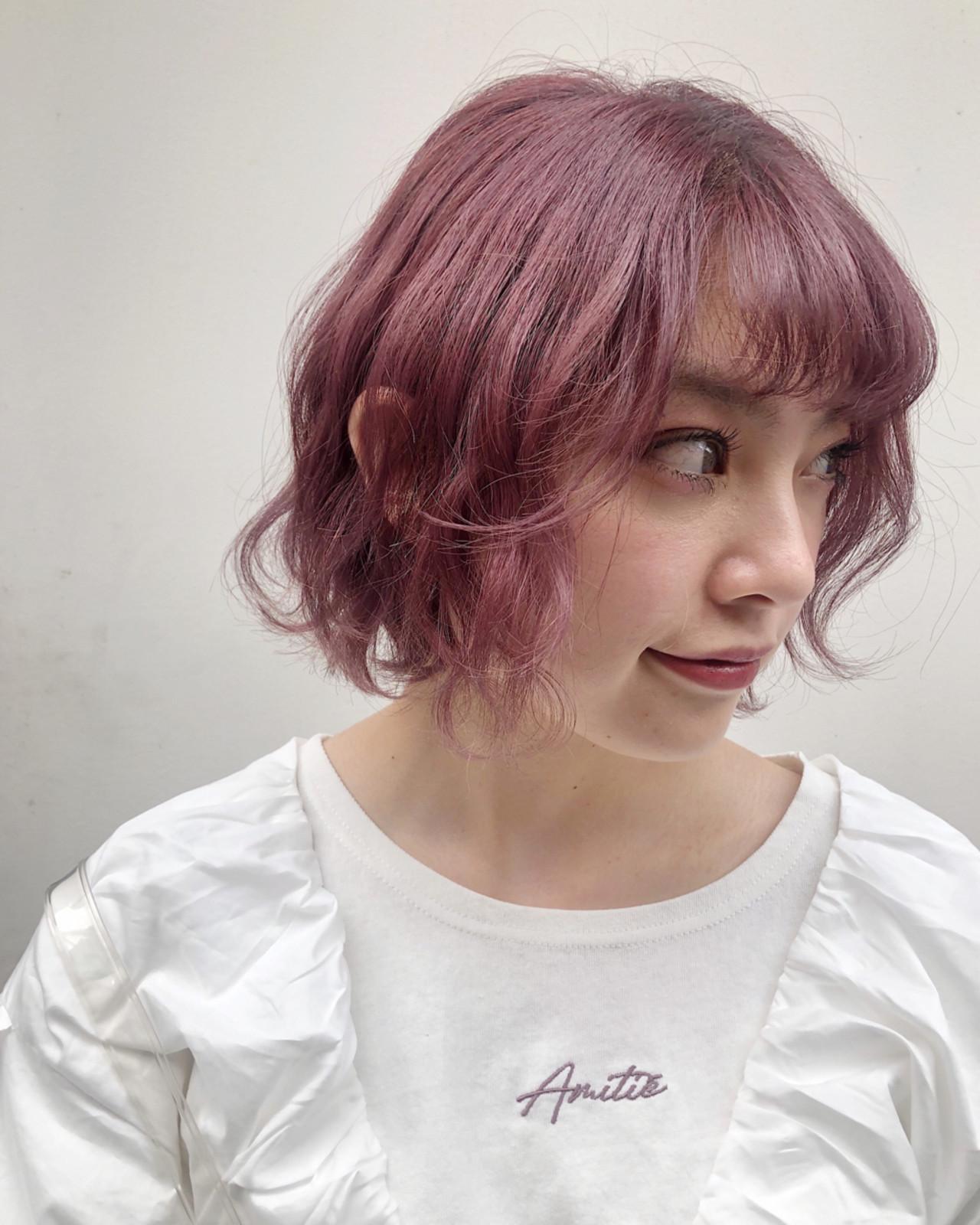 ガーリー ハイトーンカラー 簡単ヘアアレンジ ボブ ヘアスタイルや髪型の写真・画像