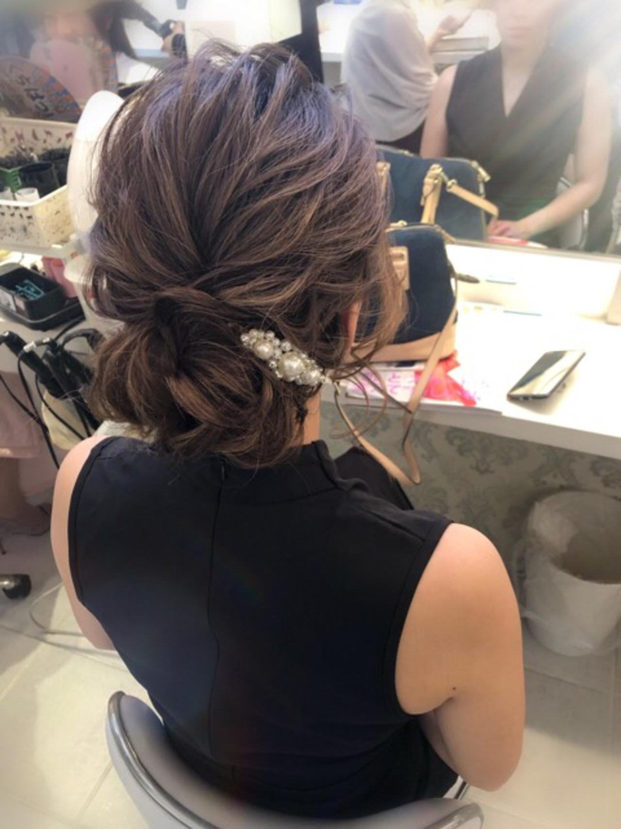 デート 簡単ヘアアレンジ ナチュラル 結婚式 ヘアスタイルや髪型の写真・画像