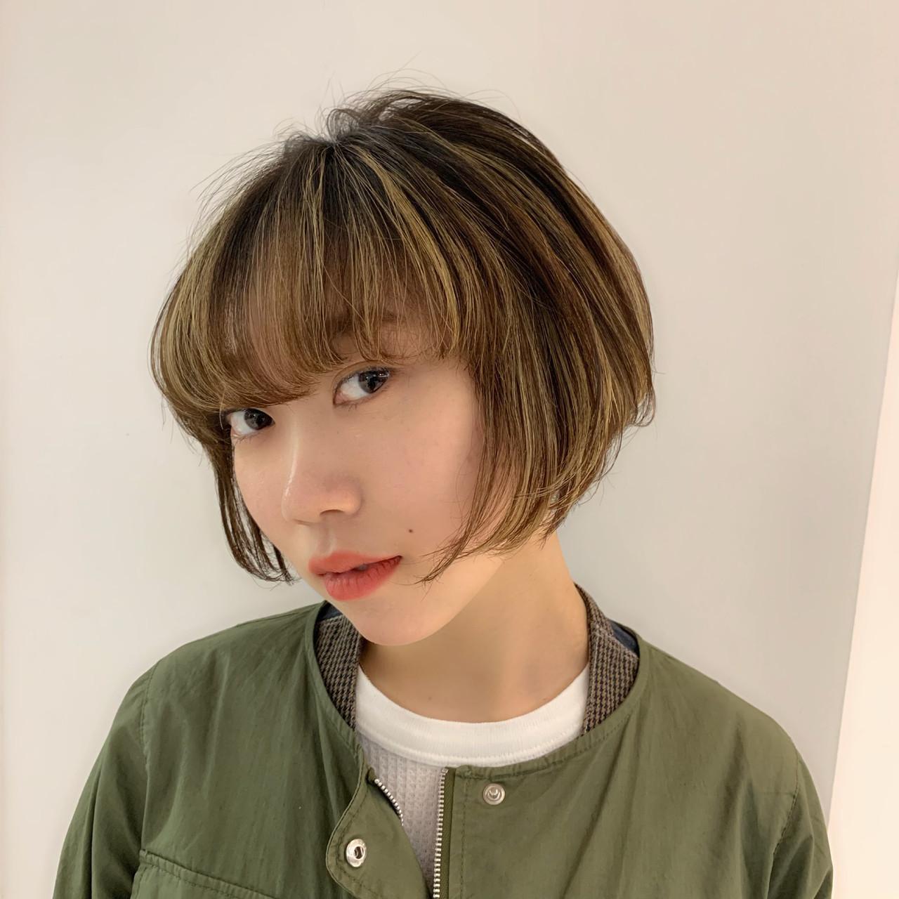 丸みショート グラボブ ナチュラル ショートボブ ヘアスタイルや髪型の写真・画像