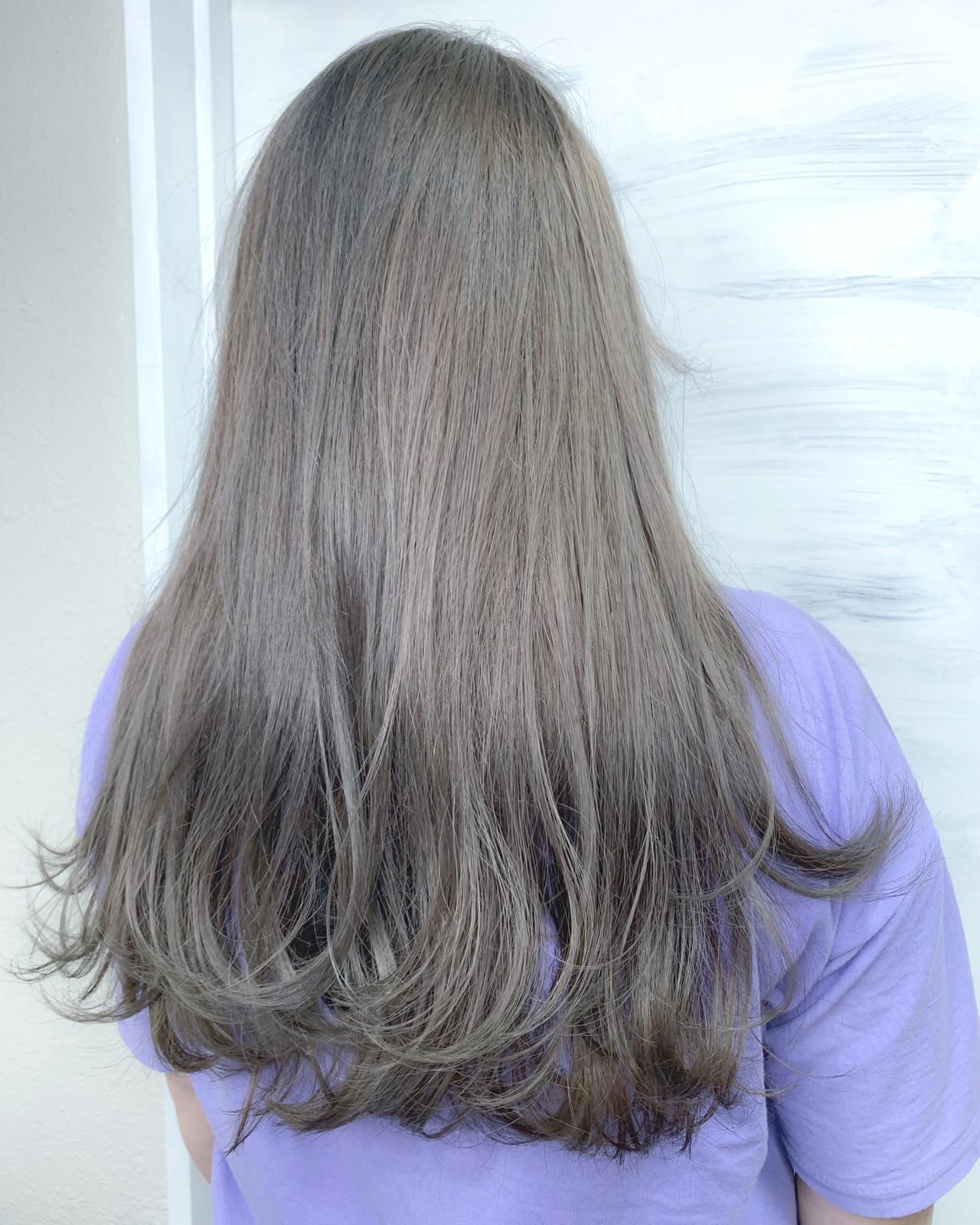 ハイライト エレガント ラベンダーアッシュ ロング ヘアスタイルや髪型の写真・画像