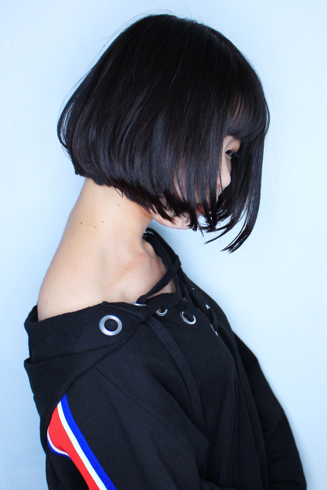 黒髪 ナチュラル ボブ ショートボブ ヘアスタイルや髪型の写真・画像