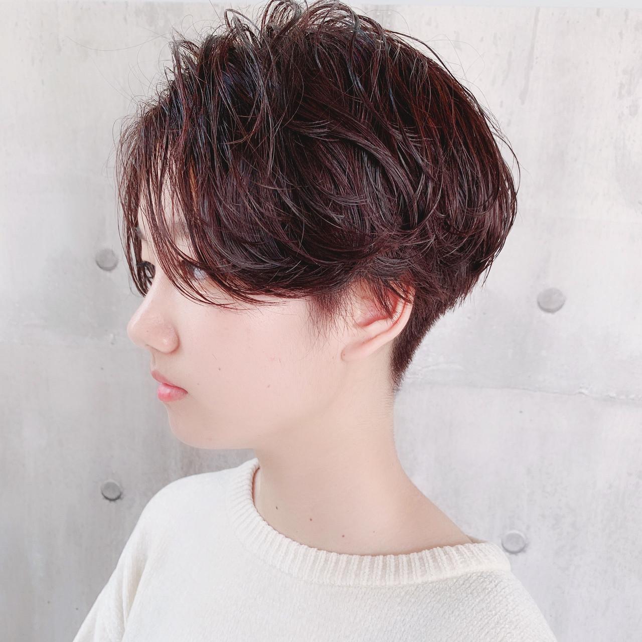 ナチュラル 小顔ショート 簡単ヘアアレンジ 刈り上げ女子 ヘアスタイルや髪型の写真・画像