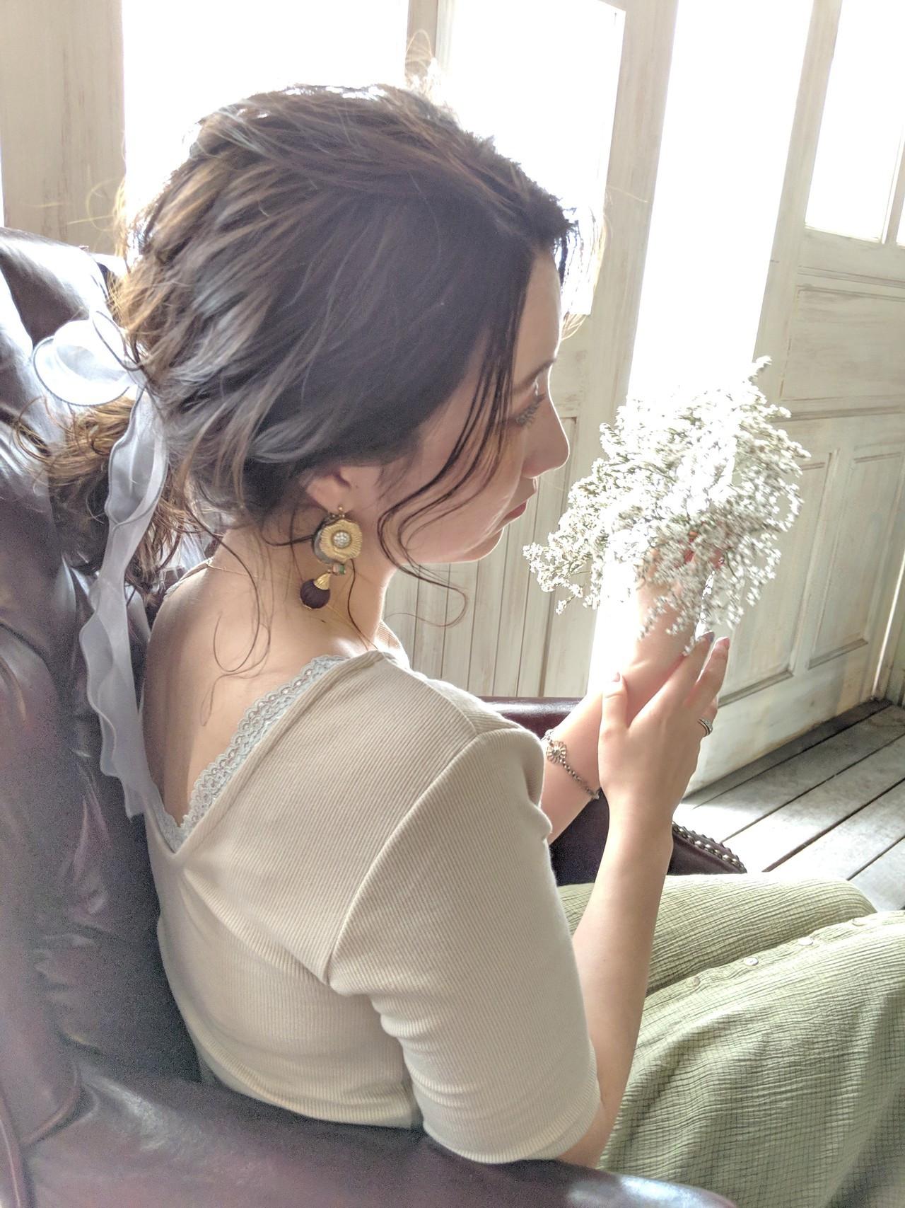 簡単ヘアアレンジ フェミニン ポニーテール ミディアム ヘアスタイルや髪型の写真・画像