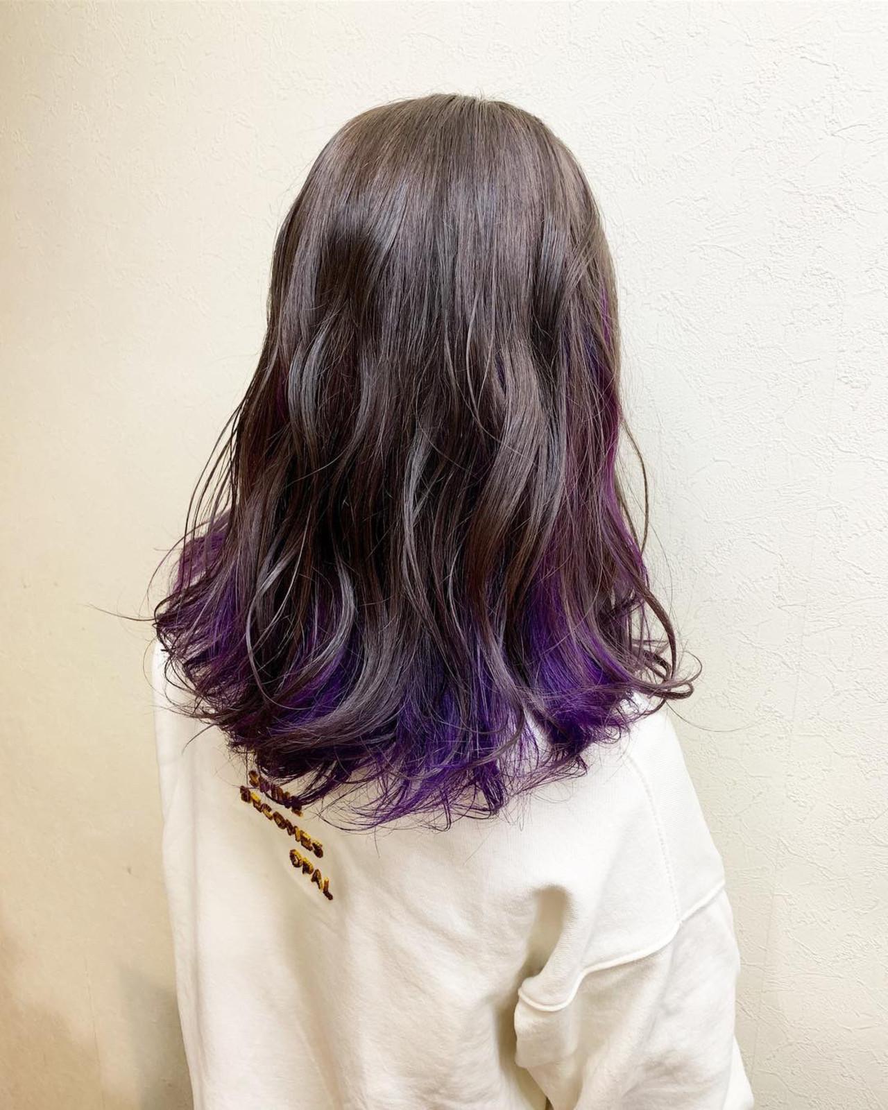 インナーカラー ガーリー グレージュ 外国人風カラー ヘアスタイルや髪型の写真・画像