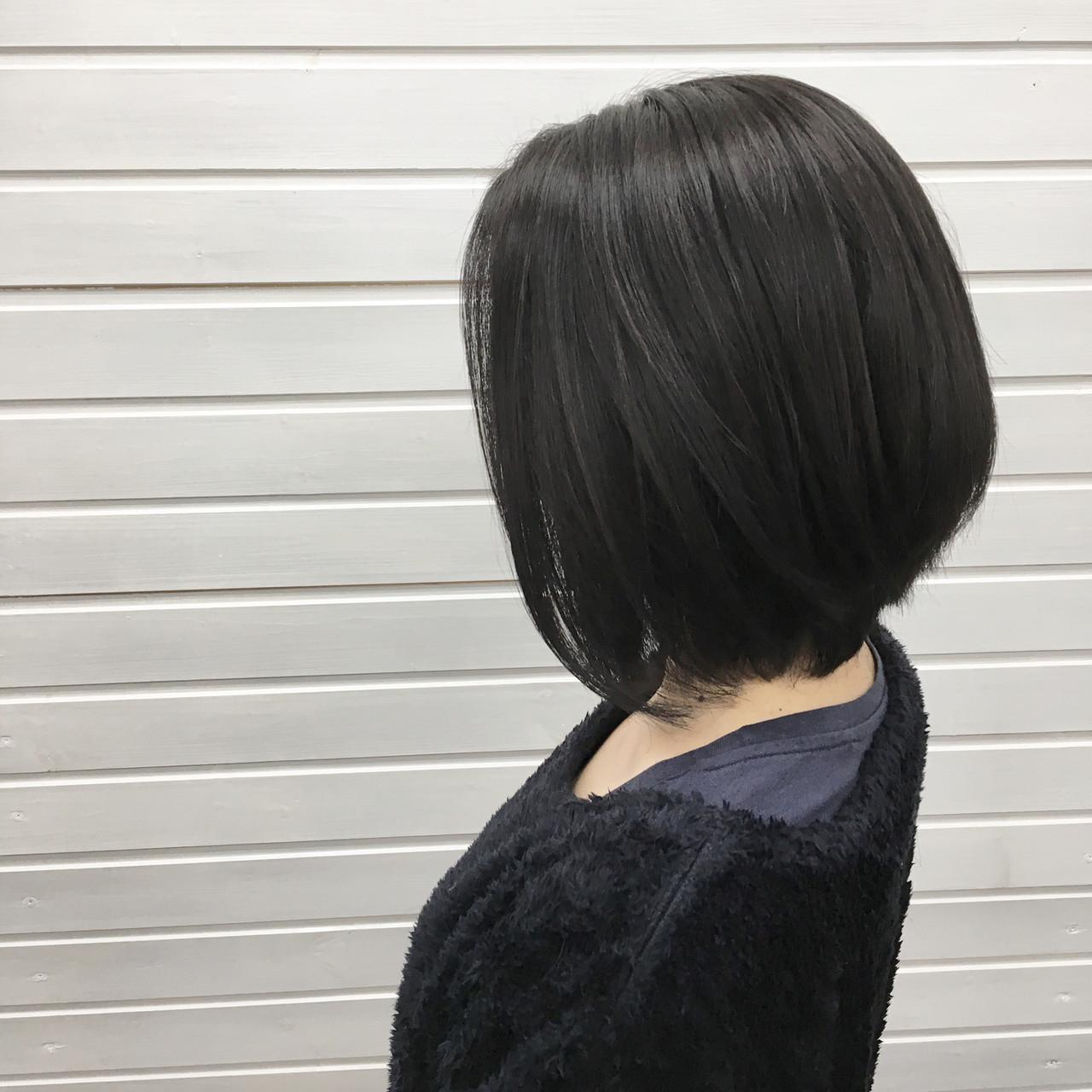 暗髪女子 フェミニン 黒髪 ボブ ヘアスタイルや髪型の写真・画像