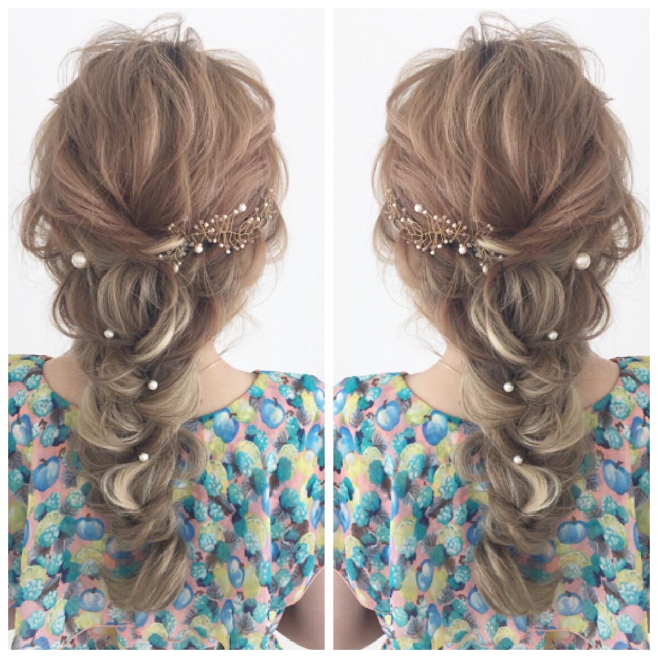 編みおろしでつくるセミロングの華やかな髪型 北新地セットサロンIRIS/佐藤 友理セットサロン IRIS
