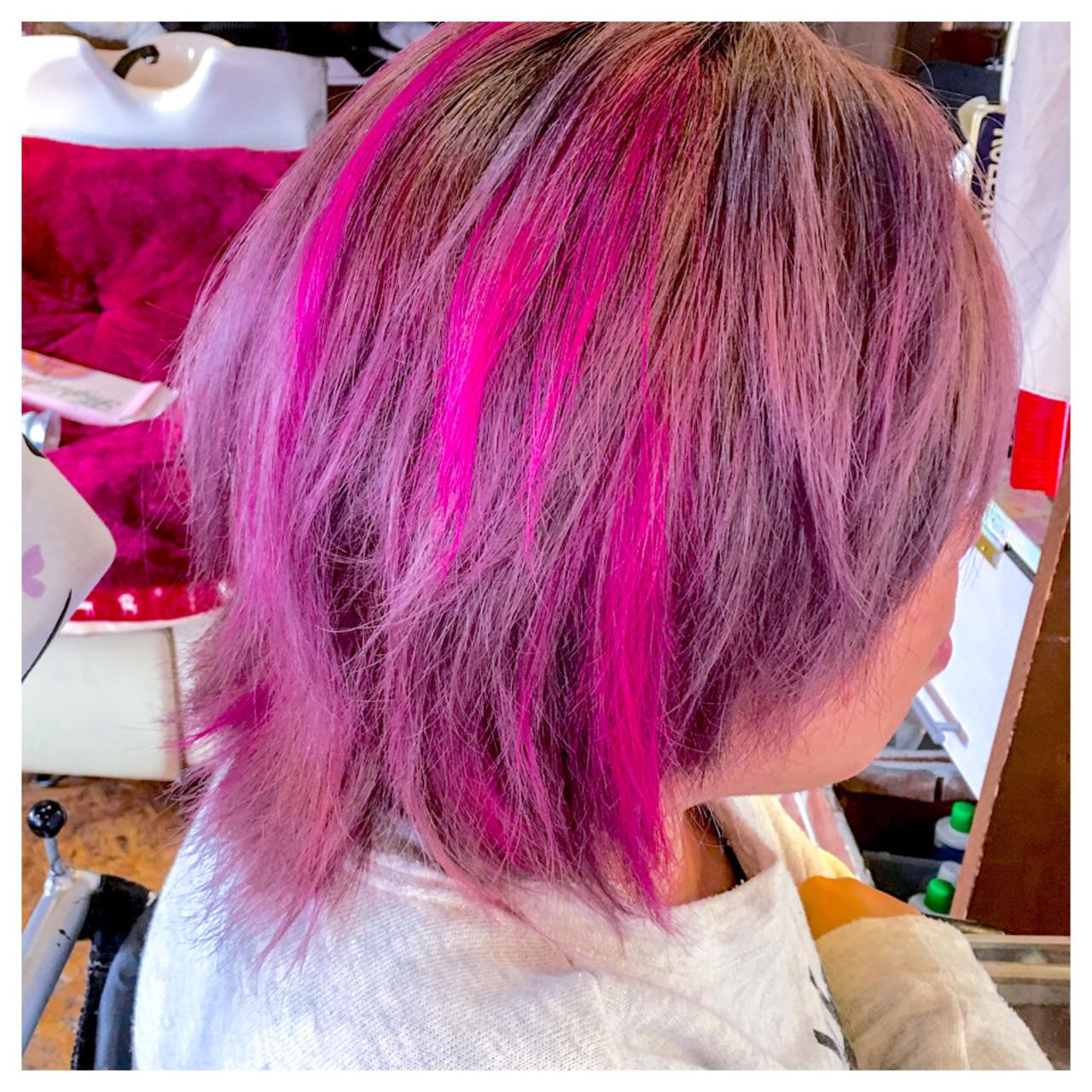 ピンク ヘアアレンジ ストリート ベージュ ヘアスタイルや髪型の写真・画像