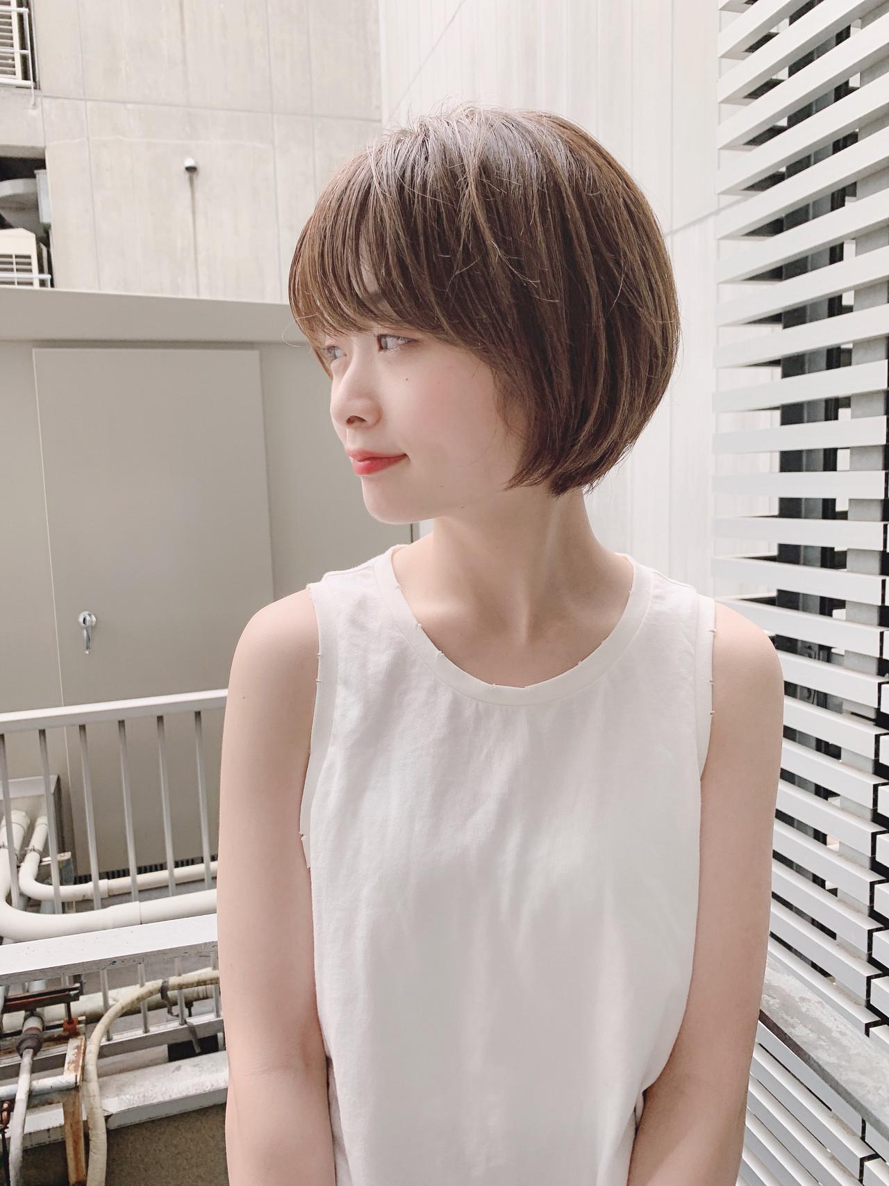 デート ナチュラル ショート オフィス ヘアスタイルや髪型の写真・画像