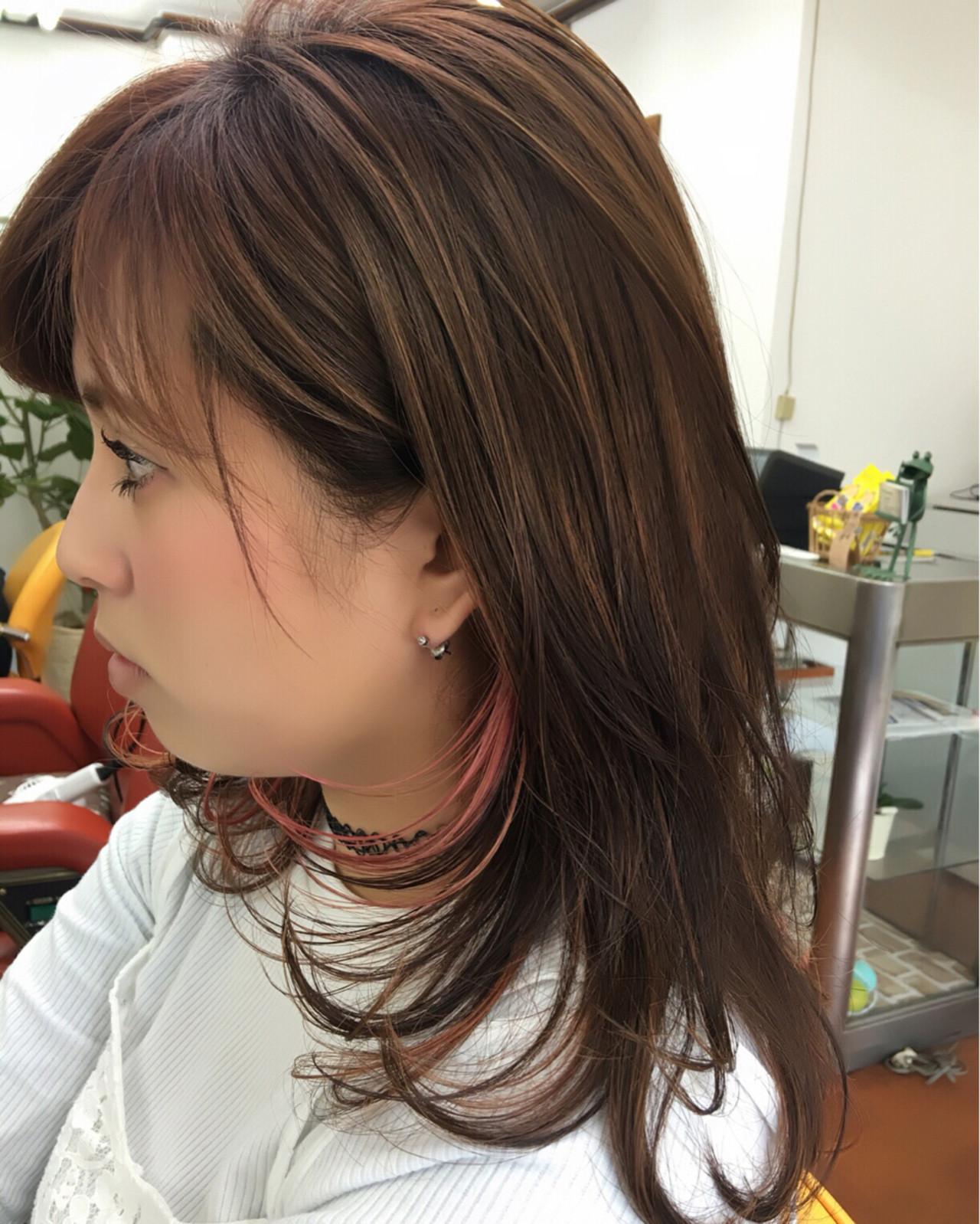 ストリート ピンク セミロング メッシュ ヘアスタイルや髪型の写真・画像