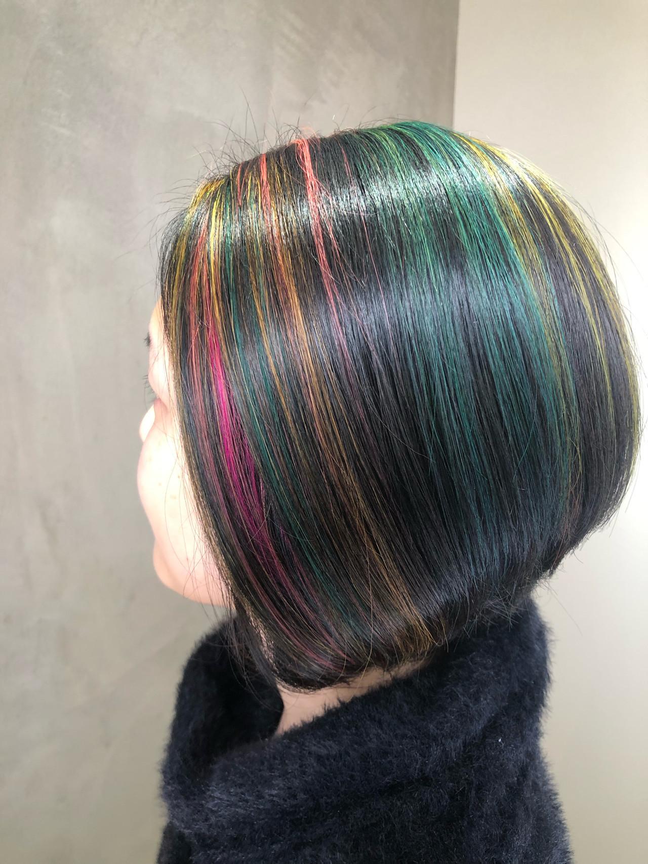グラデーションカラー 派手髪 ストリート ハイライト ヘアスタイルや髪型の写真・画像