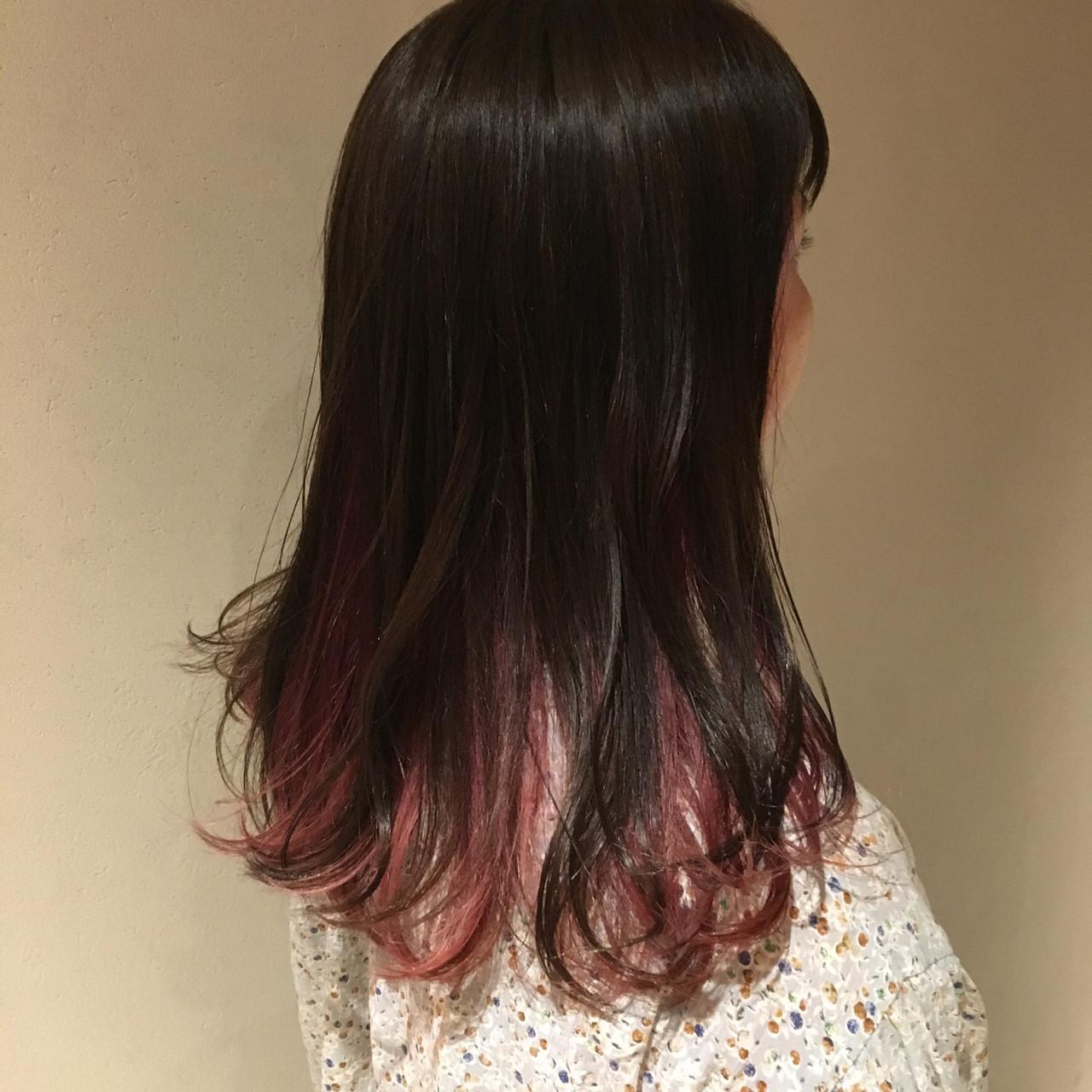 ピンクラベンダー ピンクアッシュ セミロング ストリート ヘアスタイルや髪型の写真・画像