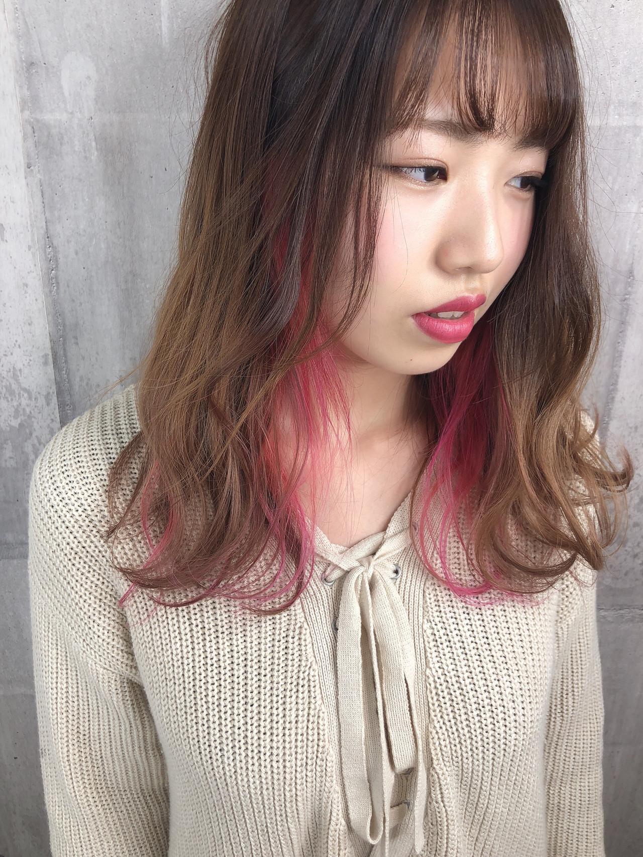 インナーに♡ピンクメッシュのおしゃれヘア 篠田 雅樹