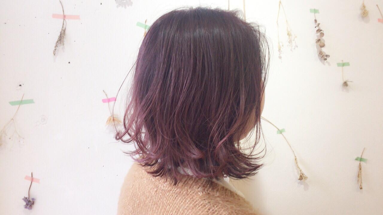 アンニュイほつれヘア ナチュラル ピンク ボブ ヘアスタイルや髪型の写真・画像